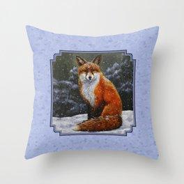 Cute Red Fox in Snow Throw Pillow