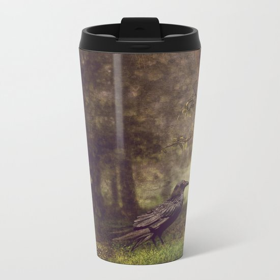 Raven in forest Metal Travel Mug