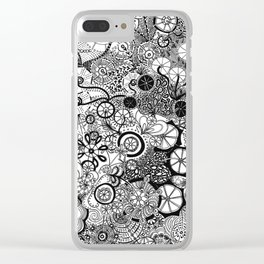 Growth in 3 Directions - Black and White Clear iPhone Case
