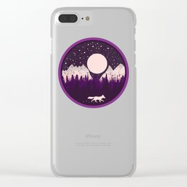 Mountains Fox Clear iPhone Case