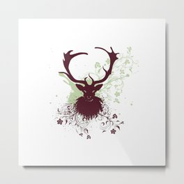 Grunge Stag with floral Metal Print