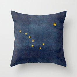 Alaska State Flag, Vintage retro version Throw Pillow
