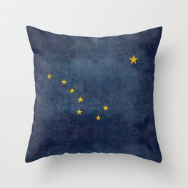 Alaska State Flag, Vintage retro version Throw Pillow