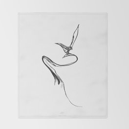 Swallow-1. Black on white background. Throw Blanket