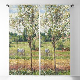 "Camille Pissarro ""Le pré avec cheval gris, Eragny""(""The meadow with gray horse, Eragny"") Blackout Curtain"