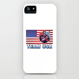 Team USA Ice Hockey Player American Flag Winter Sports Gift Design iPhone Case