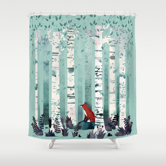 the birches shower curtainlittleclyde | society6