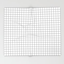 Black and White Thin Grid Graph Throw Blanket
