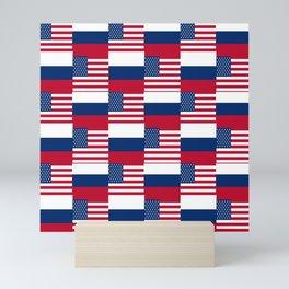 Mix of flag: Usa and russia Mini Art Print