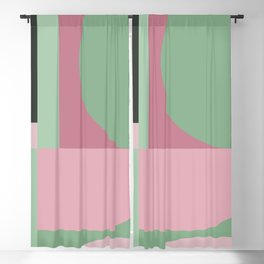 Art Deco Composition Pink and Green #5 Blackout Curtain