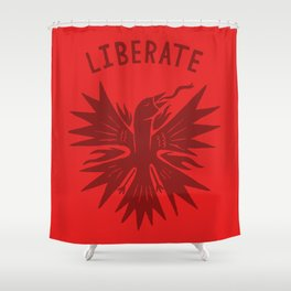 phoenix liberate crest x typography Shower Curtain