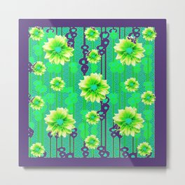 Contemporary Yellow & Green Purple Floral Art Metal Print