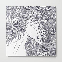 Whimsy unicorn and floral mandala design Metal Print