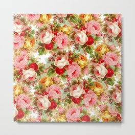 Boho chic pink yellow red roses floral vintage painting Metal Print