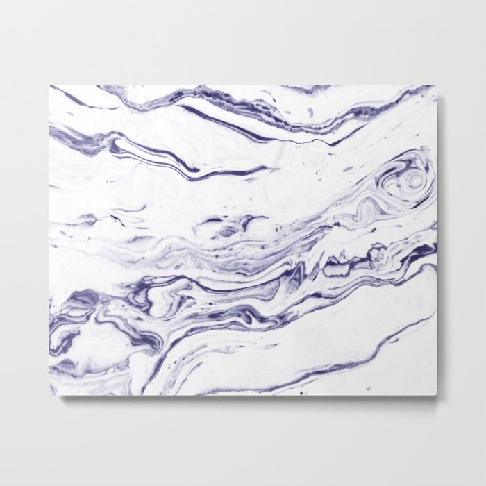 Navy Blue Marble #society6 #decor #marble Metal Print