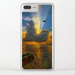 Sunset on island Clear iPhone Case