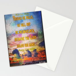 Encouragement -  Lord upholds him with his hand Stationery Cards
