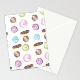 Watercolor Donuts and Chocolate Eclairs Stationery Cards