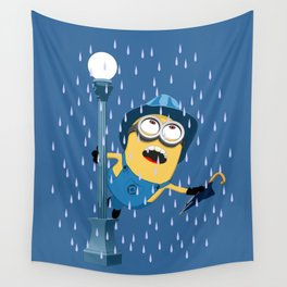 Minion in the rain Wall Tapestry