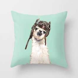 Cool Pilot Llama Throw Pillow