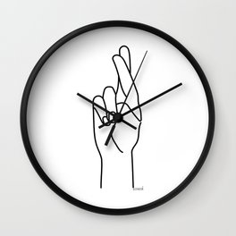 crossed fingers Wall Clock