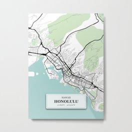 Honolulu Hawaii City Map with GPS Coordinates Metal Print