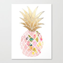 Aloha Pineapple, Pale Pink, Digital Watercolor Canvas Print