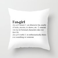 fangirl Throw Pillows featuring fangirl by maysillee