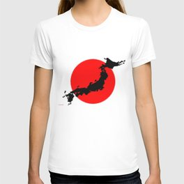 Japan Map with Japanese Flag T-shirt