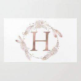 Letter H Rose Gold Pink Initial Monogram Rug