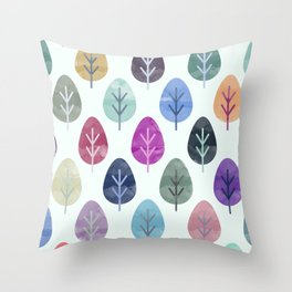 Watercolor Forest Pattern Throw Pillow