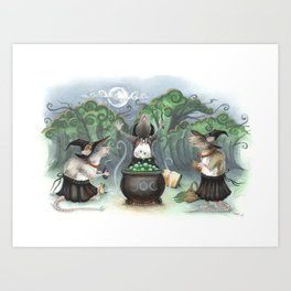 Three Wee Witches Art Print