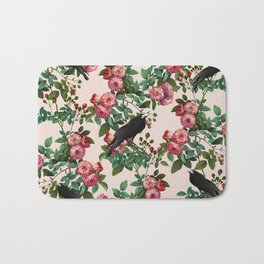 Roses With Crows Pattern Bath Mat