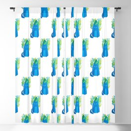 Cat and foliage - blue and green Blackout Curtain