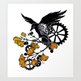 Raven and Ginkgo - Autumn Cycle Art Print