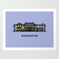 manchester Art Prints featuring Manchester by Justin Tran