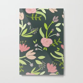 Pink Flower Garden Metal Print