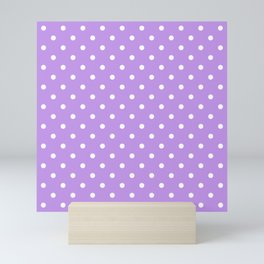 Lilac with White Polka Dots Mini Art Print