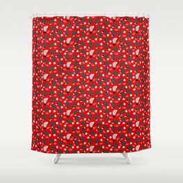 chickens and snails on red ground Shower Curtain