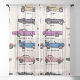 1969 Vintage Hot Wheels Redline Dealer's Store Display Poster Sheer Curtain