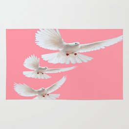 Three white Doves Flying in Coral-Pink Sky Art Design Rug