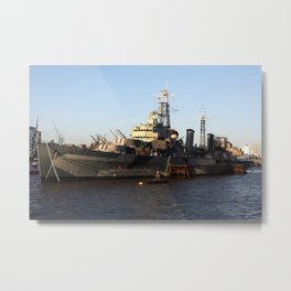 HMS Belfast on the Thames Metal Print