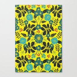 Bright Yellow, Red, Turquoise & Navy Blue Floral Pattern Canvas Print