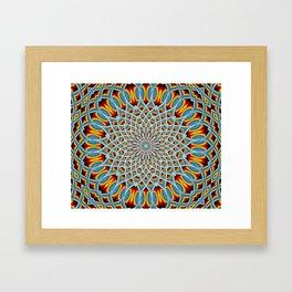 Watercolor Mandala Grunge - Magenta Blue Yellow Framed Art Print