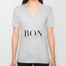 Bon Appetit,french Quote,Kitchen Sign,Kitchen Wall Art,Home Decor,Quote Prints,Typography Print Unisex V-Neck
