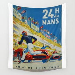 24hs Le Mans, 1959, vintage poster Wall Tapestry