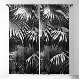 Tropical Botanic Jungle Garden Palm Leaf Black White Blackout Curtain