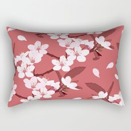 Sakura on red background Rectangular Pillow
