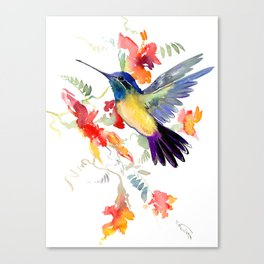 Hummingbird, floral bird art, soft colors Canvas Print
