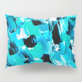 Modern abstract mermaid turquoise blue brushstrokes acrylic paint Pillow Sham